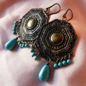 Earrings Antique Bronze TNatural urquoise Stone